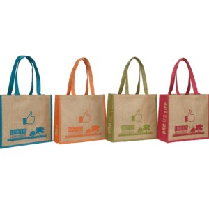 Natural Jute Tote with Colored Gusset and Tape Handle