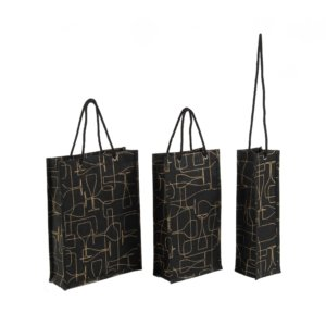 Black Burlap Wine Bag with Rope Handle
