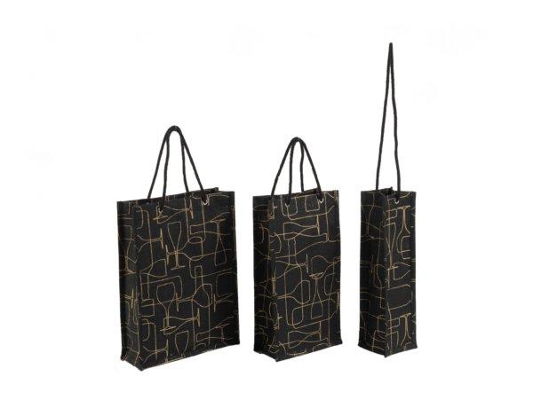 Black Burlap Wine Bag With Rope Handle