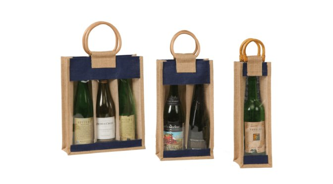 Natural Color Jute Wine Bag with Window and Cane Handle