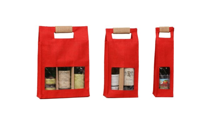Red Burlap Wine Bottle Bag with Window