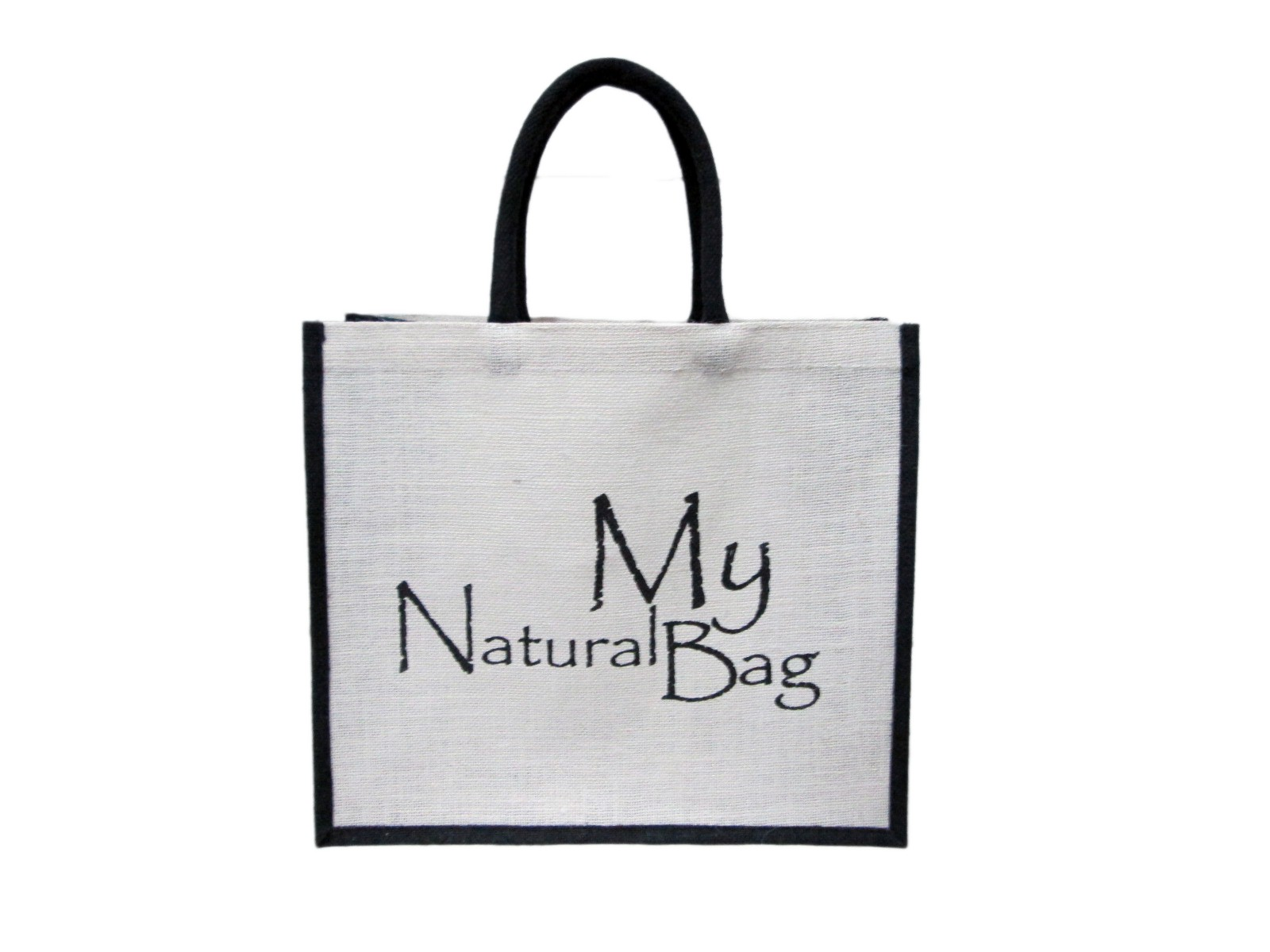 Custom Printed White Burlap Bag with Colored Gusset