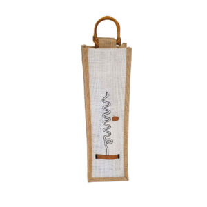 White Burlap Wine Bag with Wooden Handle
