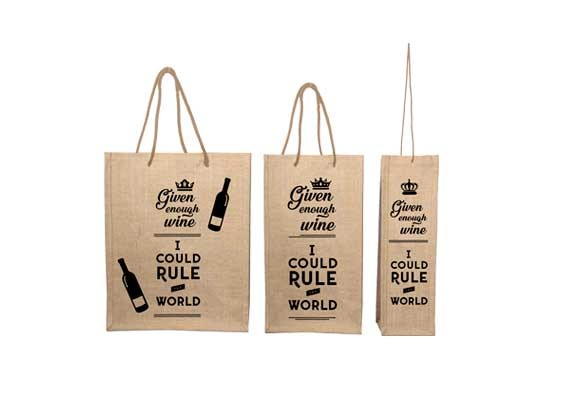 Natural Jute Wine Bag With Rope Handle