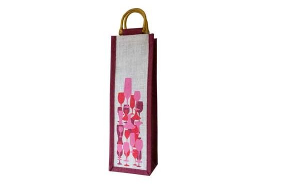 White & Maroon Reusable Wine Bag with Wooden Handle