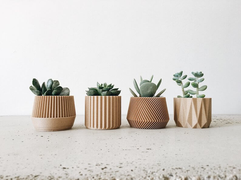 Eco-friendly geometric wooden planters