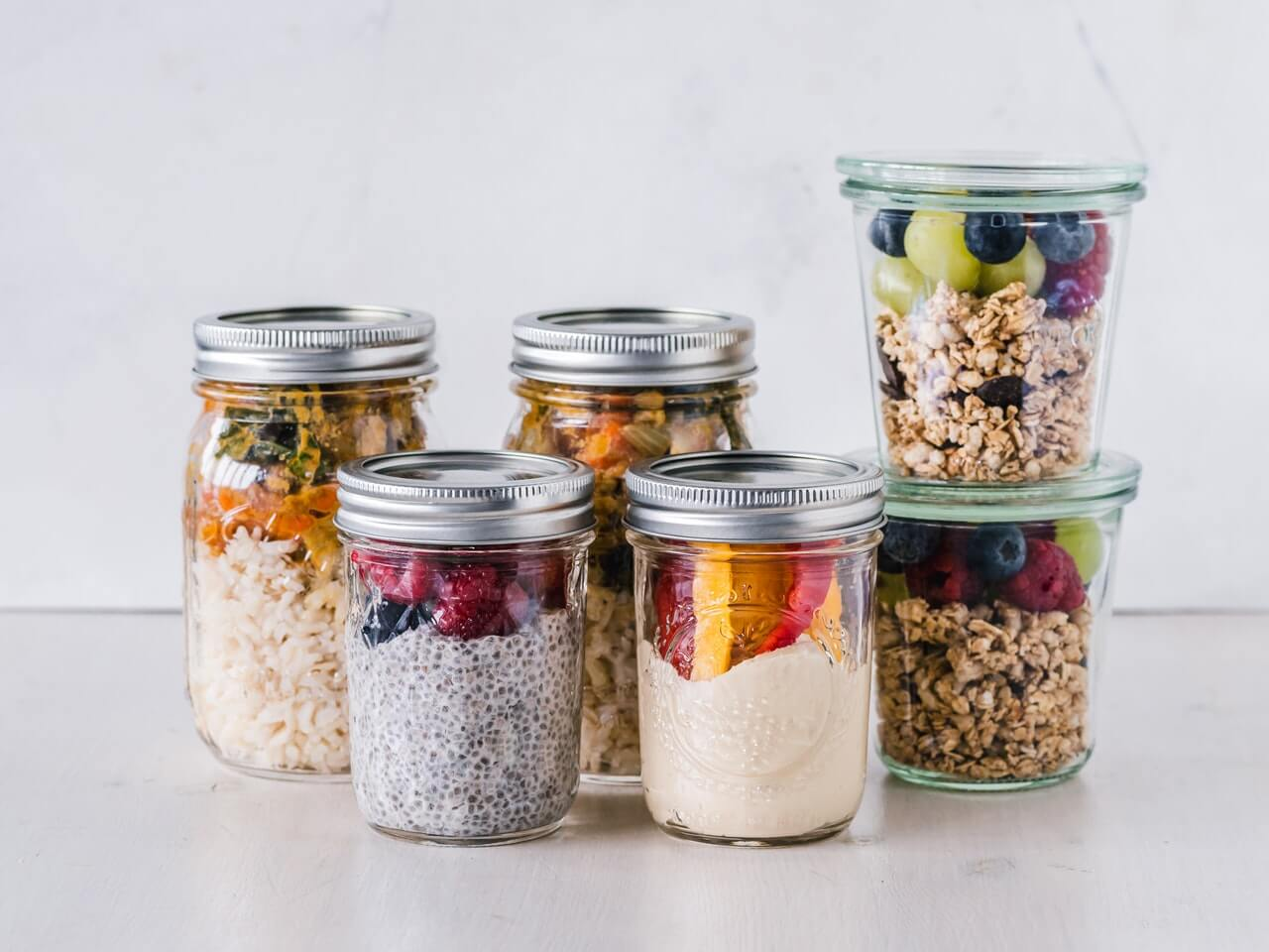 food packed in mason jars