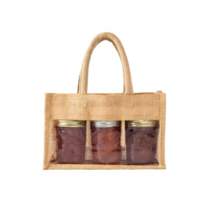 3 Bottle Natural Jute Jar Bag with Window and Padded Handle