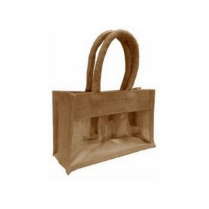 Jute Jar Bag with Window and Padded Handle