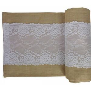 Natural Burlap Table Runner with White Lace
