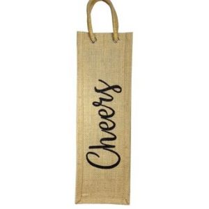 Cheers Burlap Wine Bag with Padded Handle