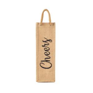 Cheers Burlap Wine Bag with Padded Handle