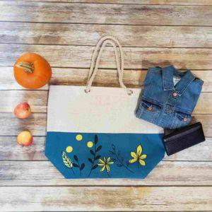 Floral Print Burlap Tote Bag