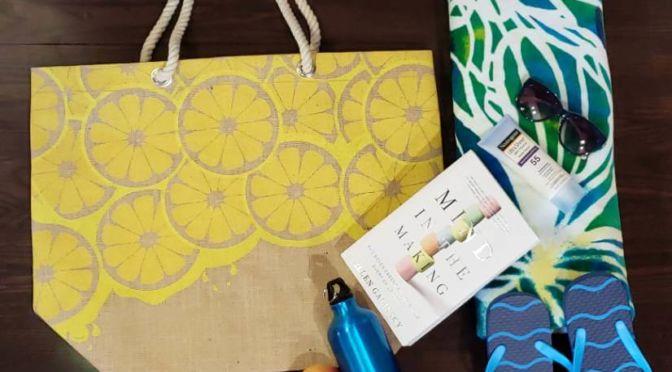 Lemon Print Burlap Beach Bag