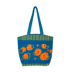 Bird Print Burlap Tote Bag