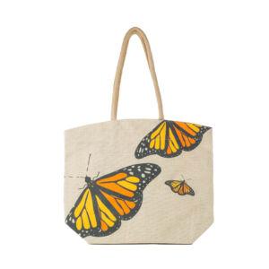 Butterfly Jute Tote Bag
