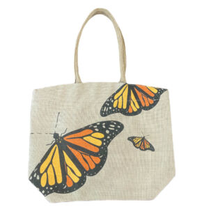 Butterfly jute tote bag