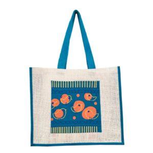 Teal jute tote bag with printed pocket