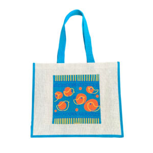 Teal jute tote bag with printed pocket
