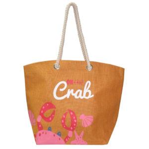 Oh Crab Jute Beach Bag – Tangerine
