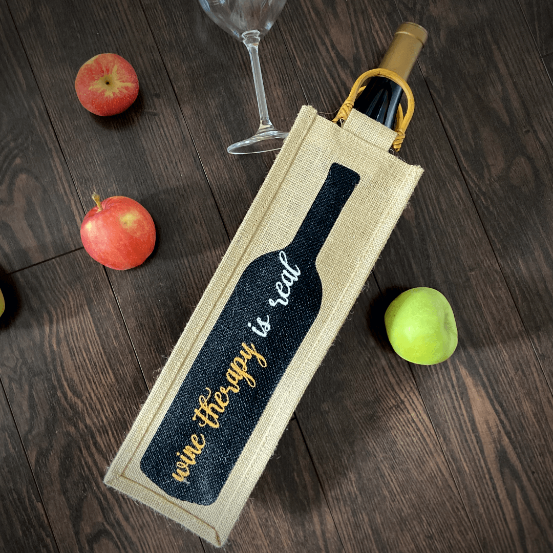 Wine therapy burlap wine bag