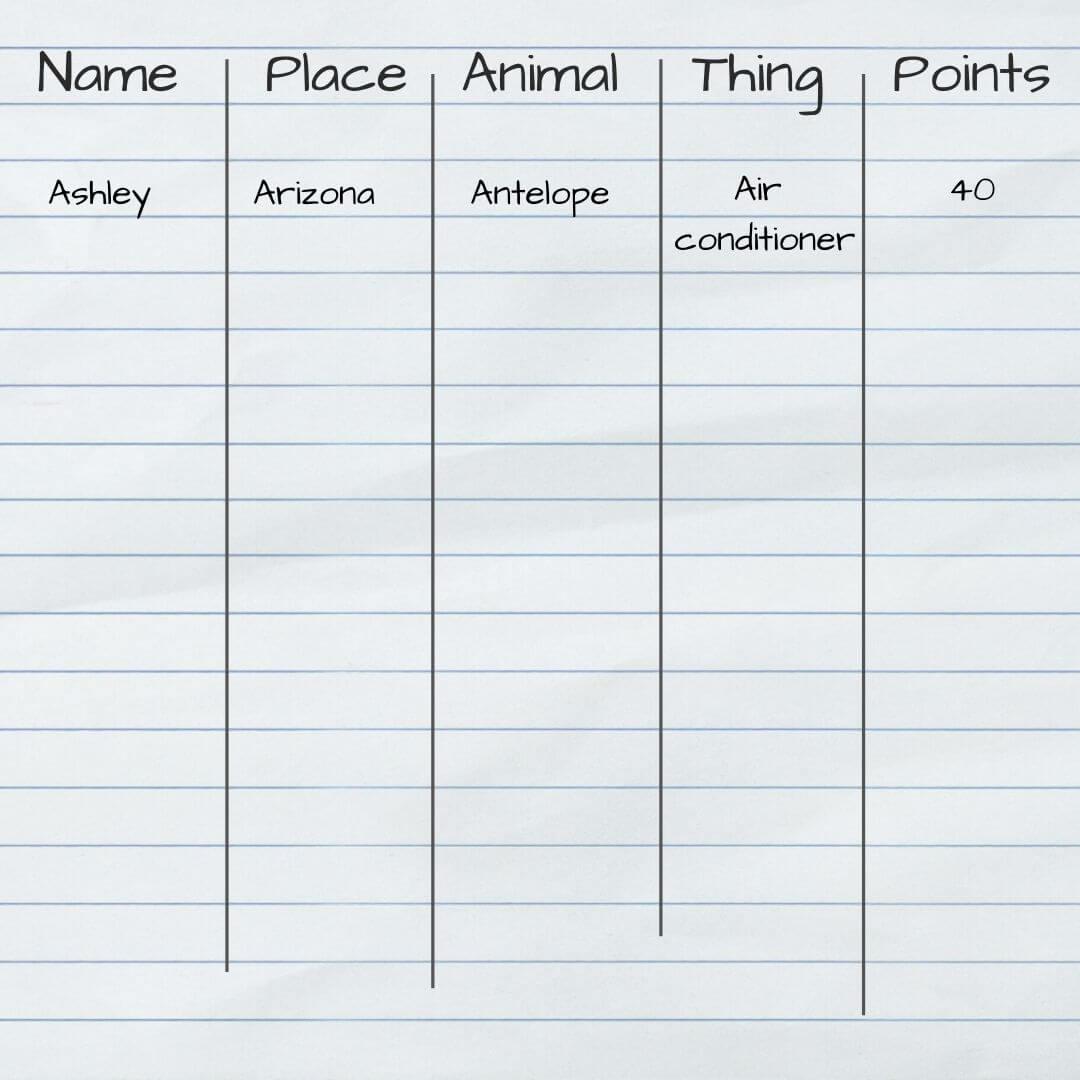 Name, place, animal, thing game
