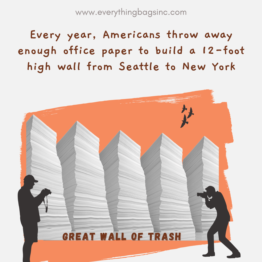 Wall made of office paper waste