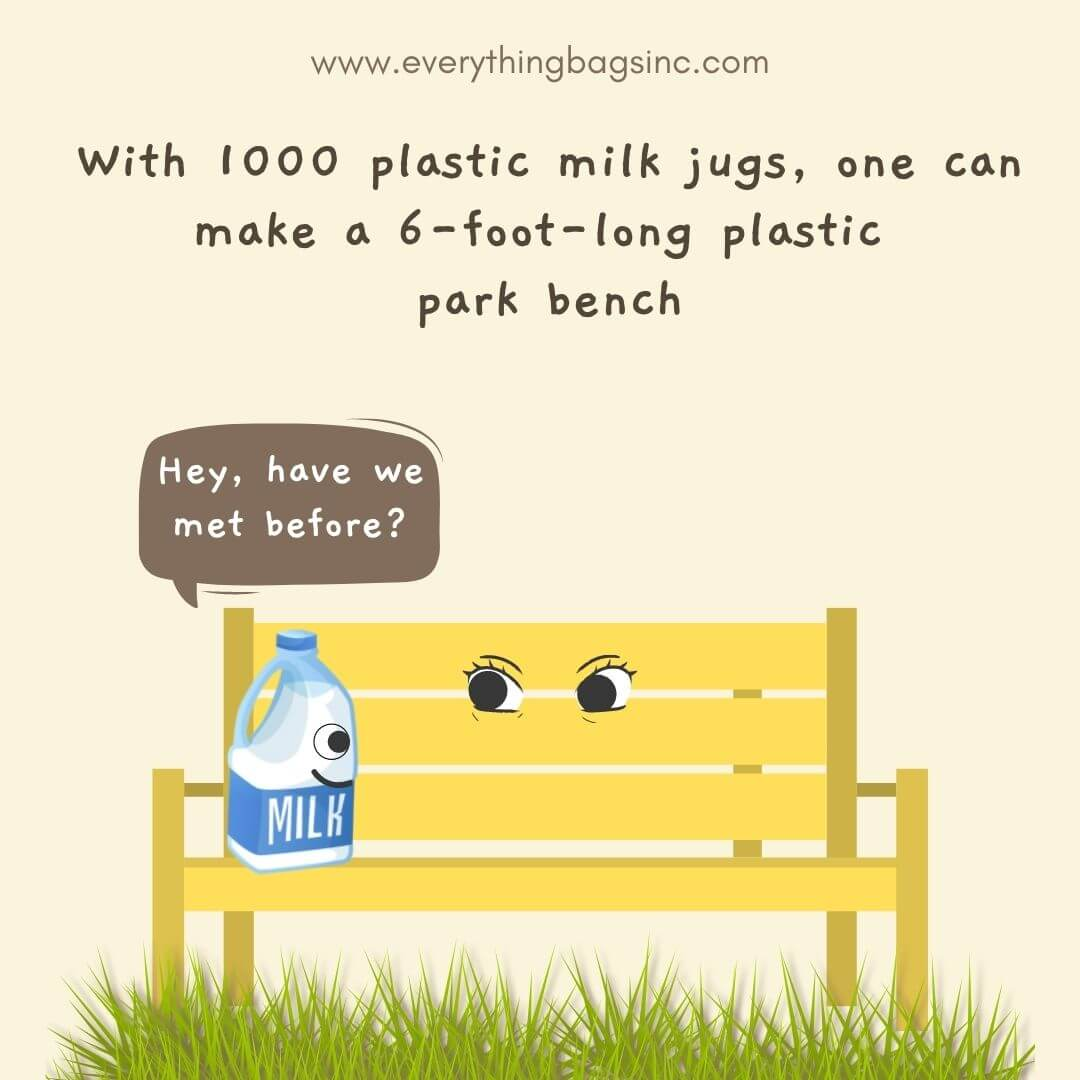 Recycling fact about plastic milk jugs and park bench