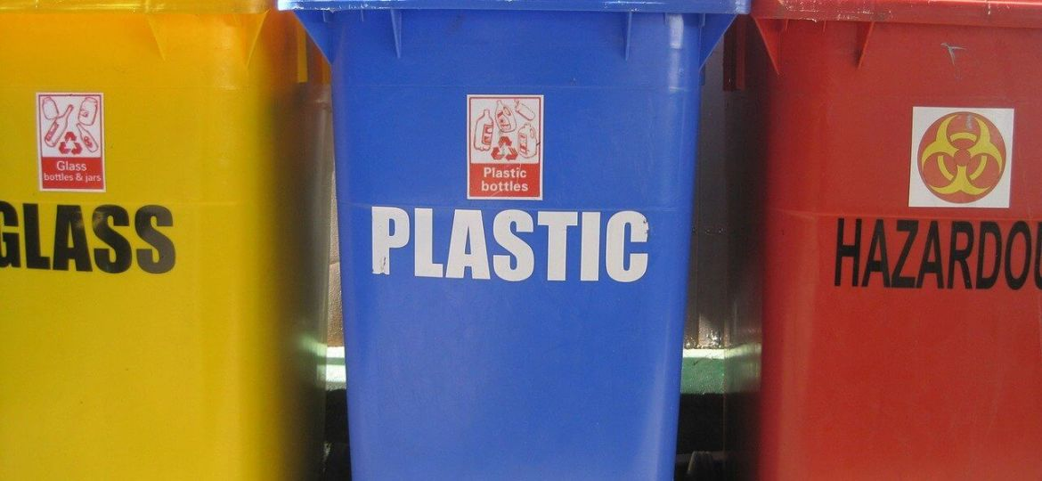 Blue recycle bin for plastic