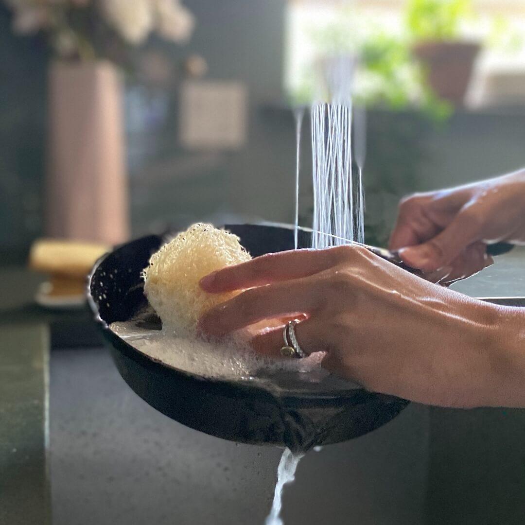 Natural loofah dish scrubber