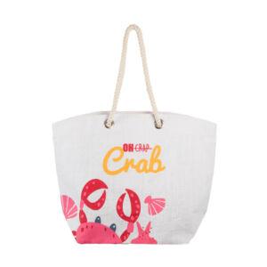 Oh Crab Jute Tote Bag – White
