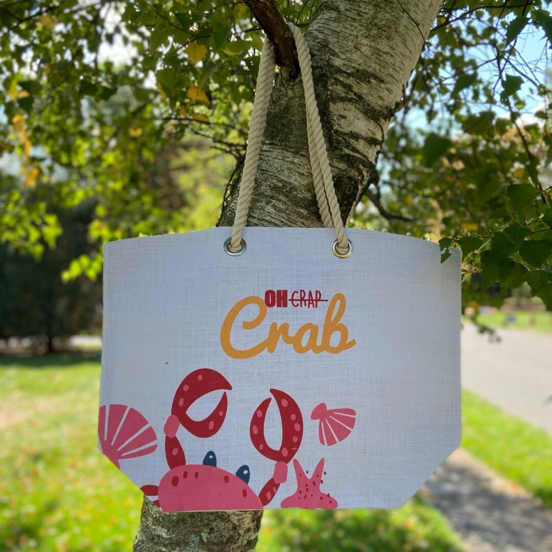 Oh Crab Burlap Tote Bag by Everything Bags Inc.