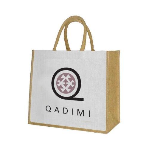 Custom jute bag with Qadimi logo