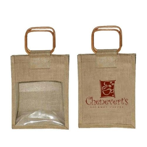 Jute bag with window printed with Chenevert's logo