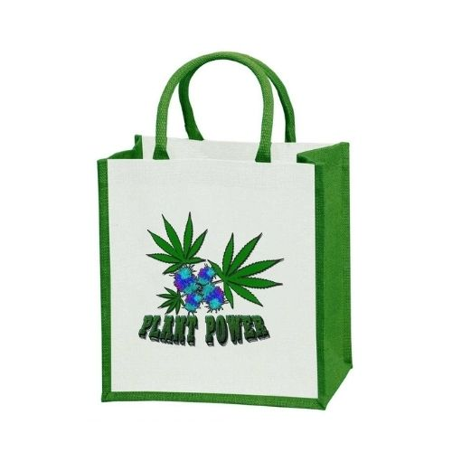 Custom jute tote with green gusset and plant power print
